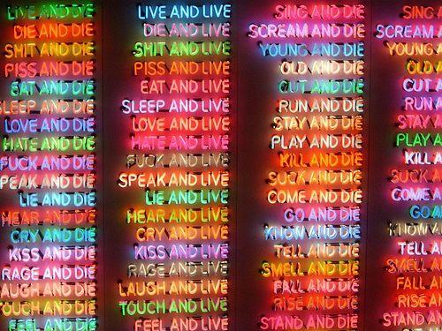 neon art. I saw this exhibit in La Jolla it was pretty cool.