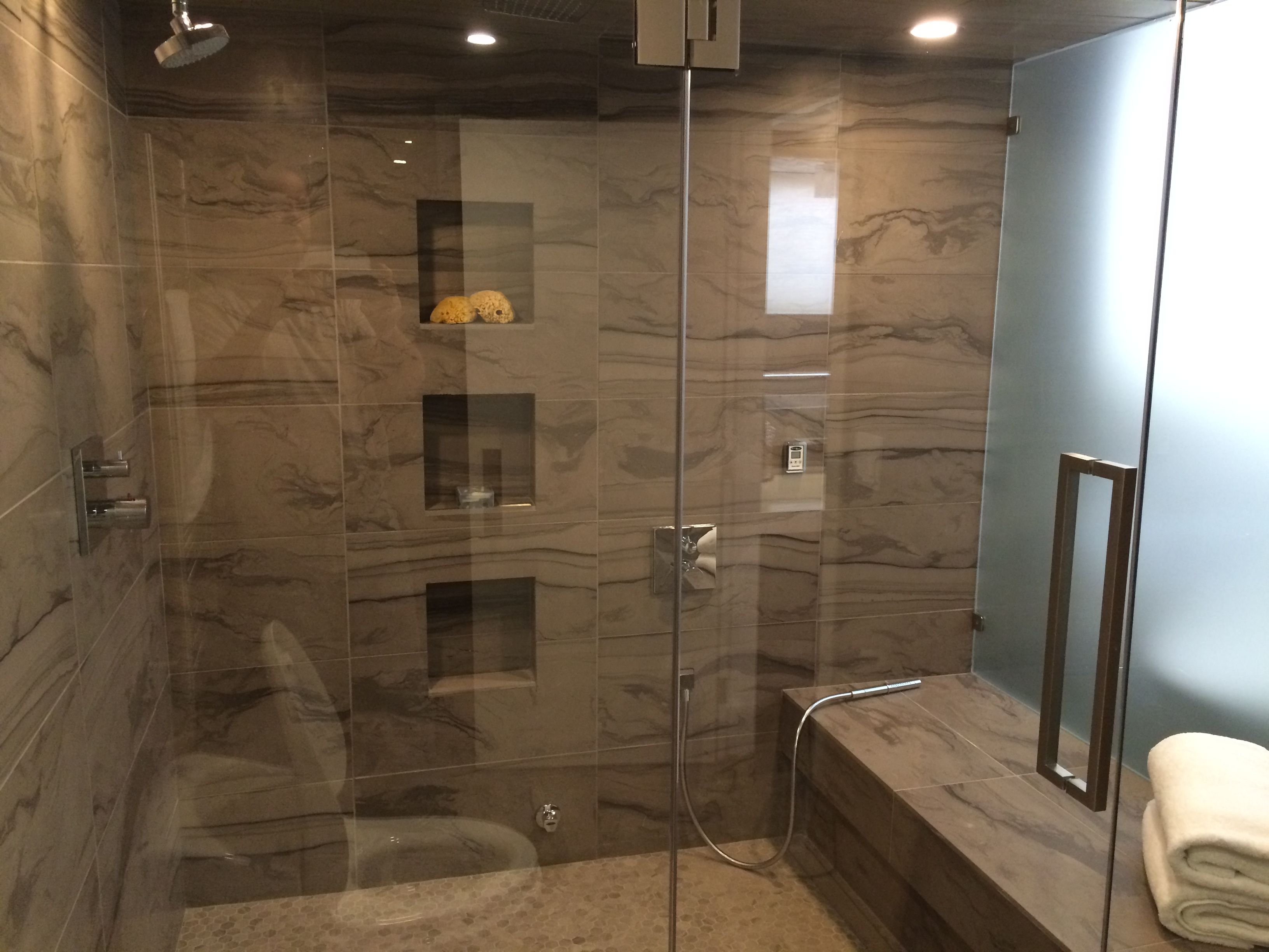 Custom steam shower renovation Natural stone, seamless drain system ...