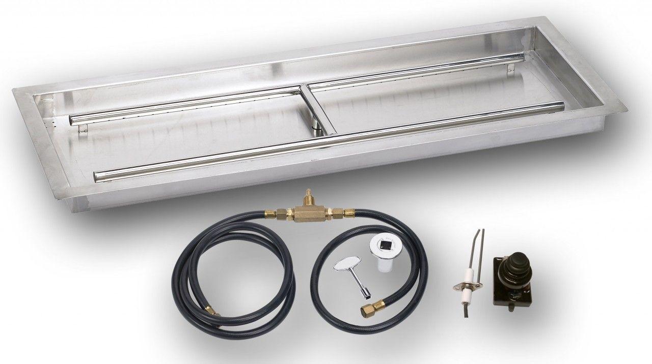 rectangular pan w spark kit fire glass outdoor propane fire
