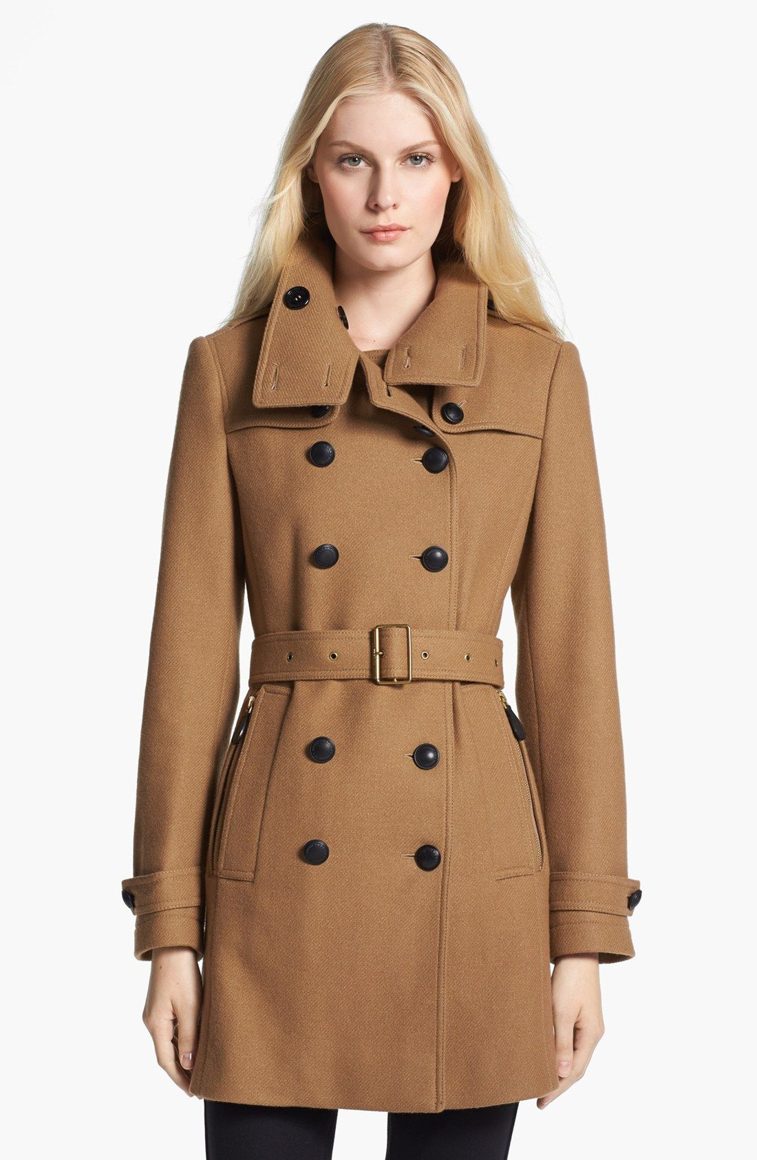 Burberry Brit Daylesmoore Wool Blend Trench Coat For Women   Fashideas.com e6fa9fde6cd3