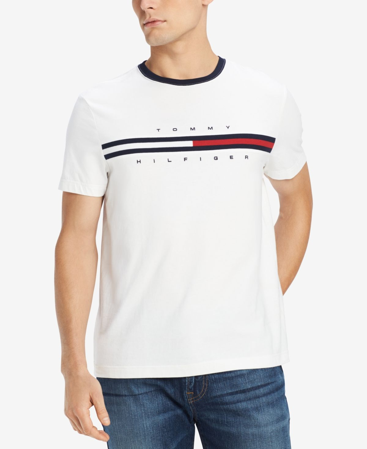 Tommy Hilfiger Mens Big and Tall T Shirt with Pocket