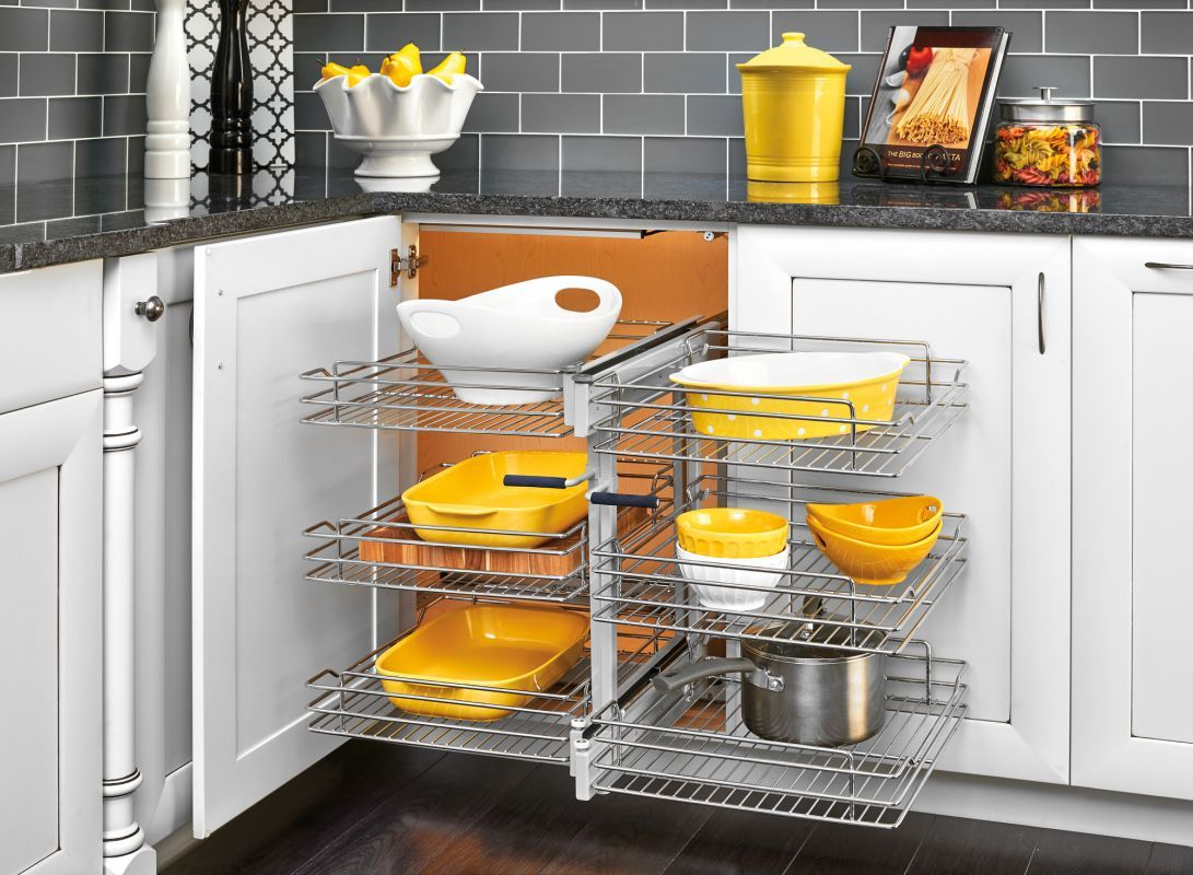 """View the Rev-A-Shelf 5PSP3-15SC 5PSP Series 26.25"""" Wide Three Tier Blind Corner Pull Out Base Organizer with Soft Close Slides at PullsDirect.com."""