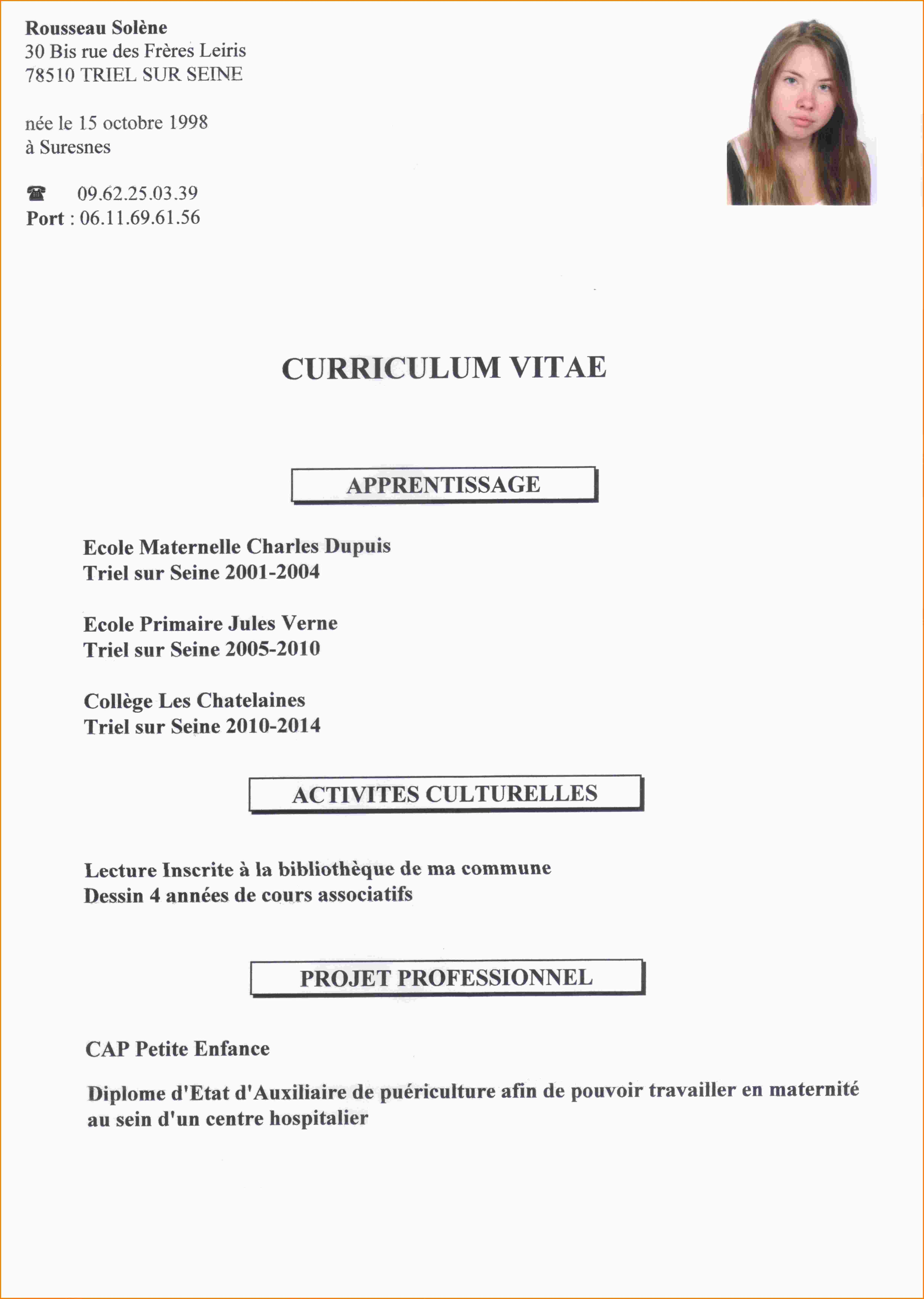 cv pour stage modele cv 2016 word