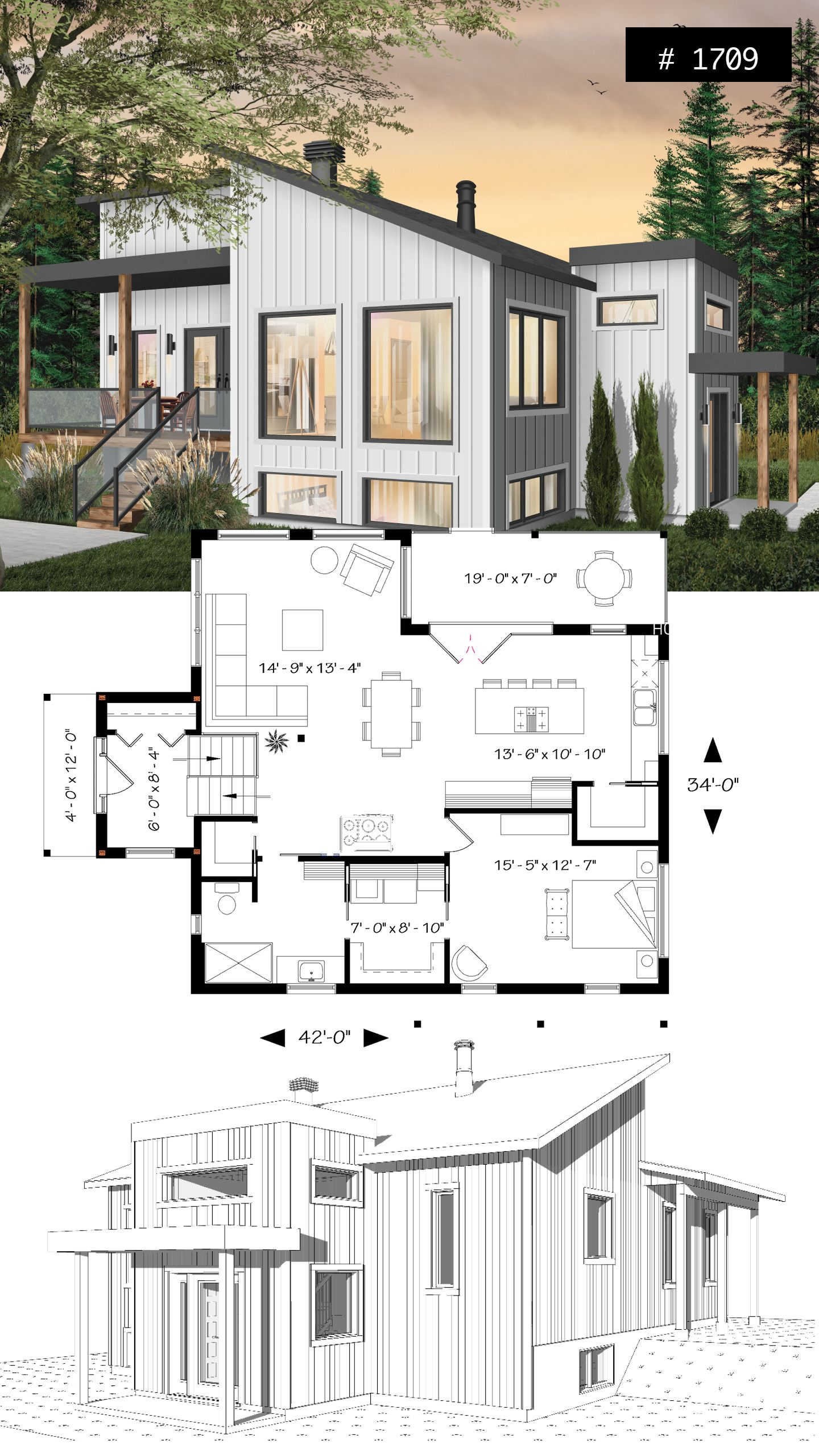 Discover The Plan 1709 Billy Which Will Please You For Its 1 Bedrooms And For Its Modern Design Styles Small Modern House Plans Unique House Plans Contemporary House Plans