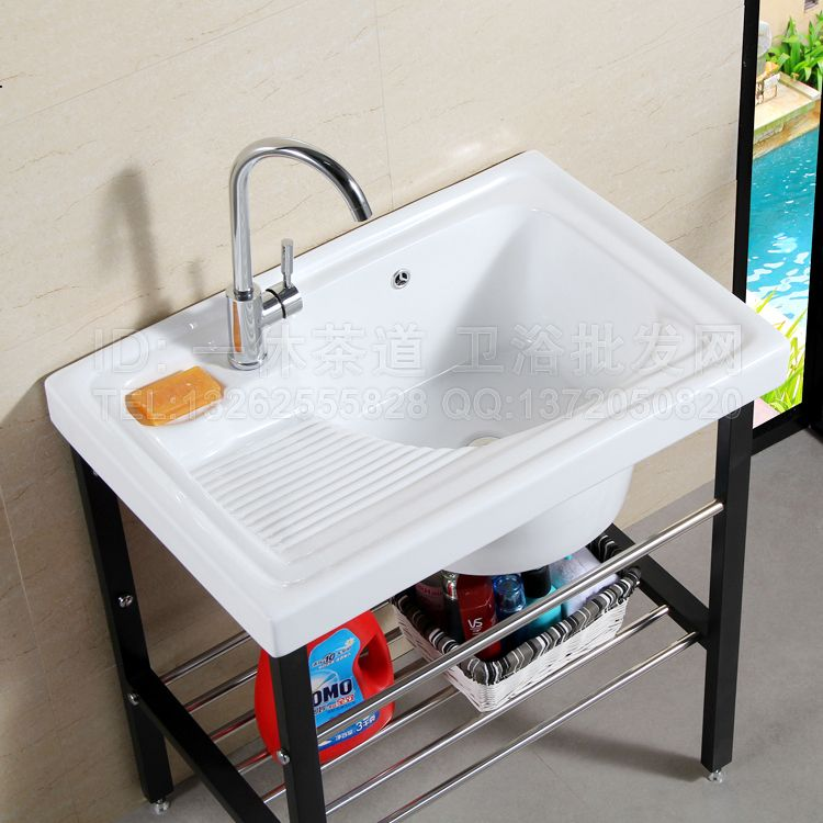 ceramic balcony washtub with a washboard laundry tub laundry tub paint stainless steel frame ultra - Laundry Tubs