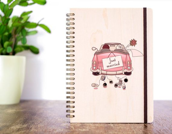gift for bride wood wedding journal bridal shower gift wedding notebook rustic