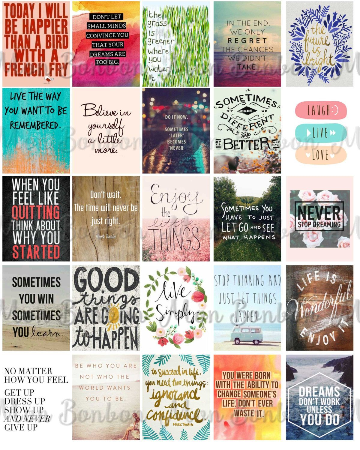 Motivational Quote Full Box Planner Stickers//Erin Condren Stickers