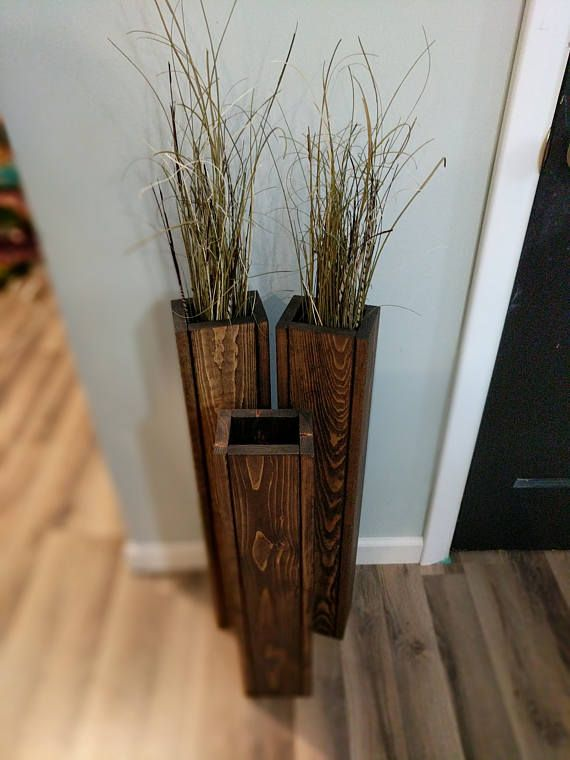 Set of 3 18 22 24 rustic floor vases wooden vases home decor decorative vase - Jarrones rusticos ...