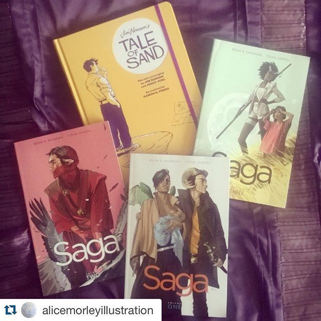 Saga series #bookmail it doesn't get much better than that!  #Repost @alicemorleyillustration with @repostapp. ・・・ Treating myself to some awesome comics c: I definitely recommend the Saga series and Tale of Sand. #books #comics #graphicnovel #saga #wordery