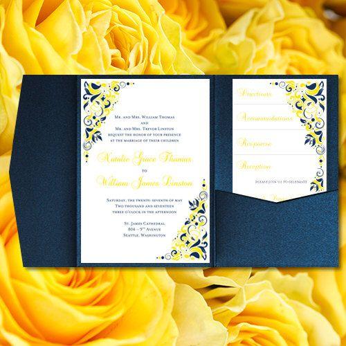 "Pocket Fold Wedding Invitations ""Gianna"" Navy Blue"