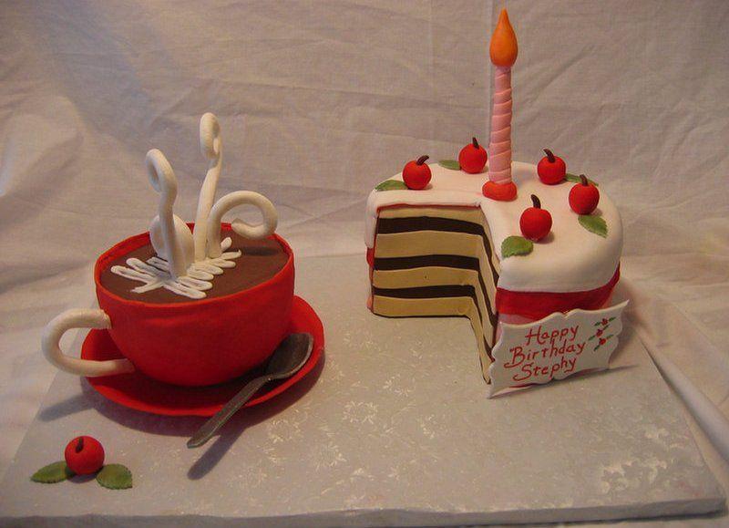Birthday Cake with Coffee Mug or Hot chocolate mug