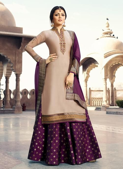 Beige And Purple Embroidered Lehenga Kurti Set Hatkay Hatkay Com Combination Dresses Lehenga Style Dress Indian Style