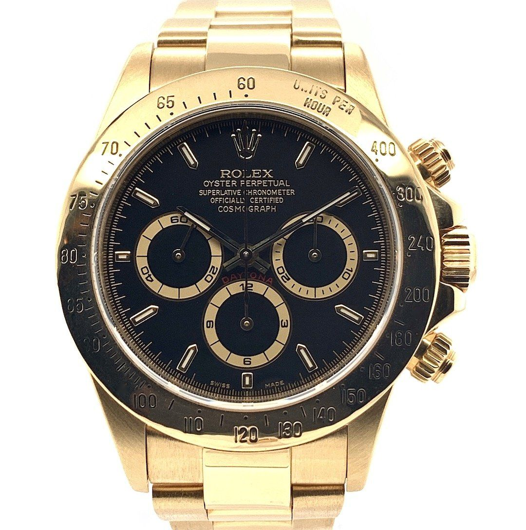 Rolex Oyster Perpetual Cosmograph Daytona Zenith El Primero Black Dial 18k Yellow Gold Ref 16528 In 2020 Rolex Oyster Perpetual Oyster Perpetual Cosmograph Daytona Oyster Perpetual