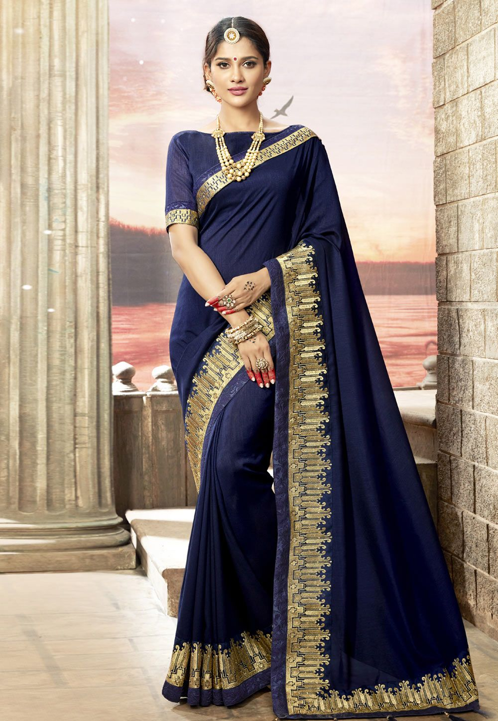fc2a754388 Buy Navy Blue Silk Embroidered Saree With Blouse 156423 with blouse online  at lowest price from vast collection of sarees at Indianclothstore.com.