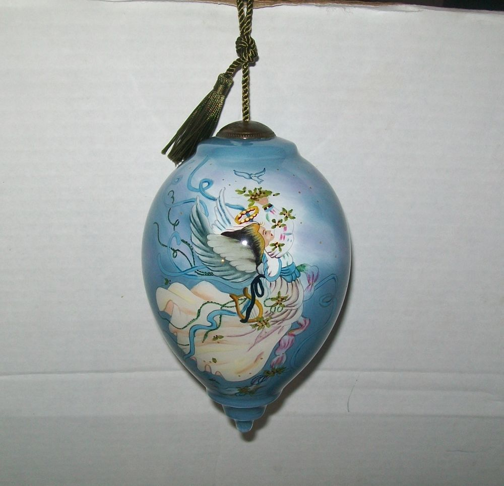 Blue Christmas Ball Ornaments Uk: Angel Ornament Glass Large Blue Angel Hanging Ornament