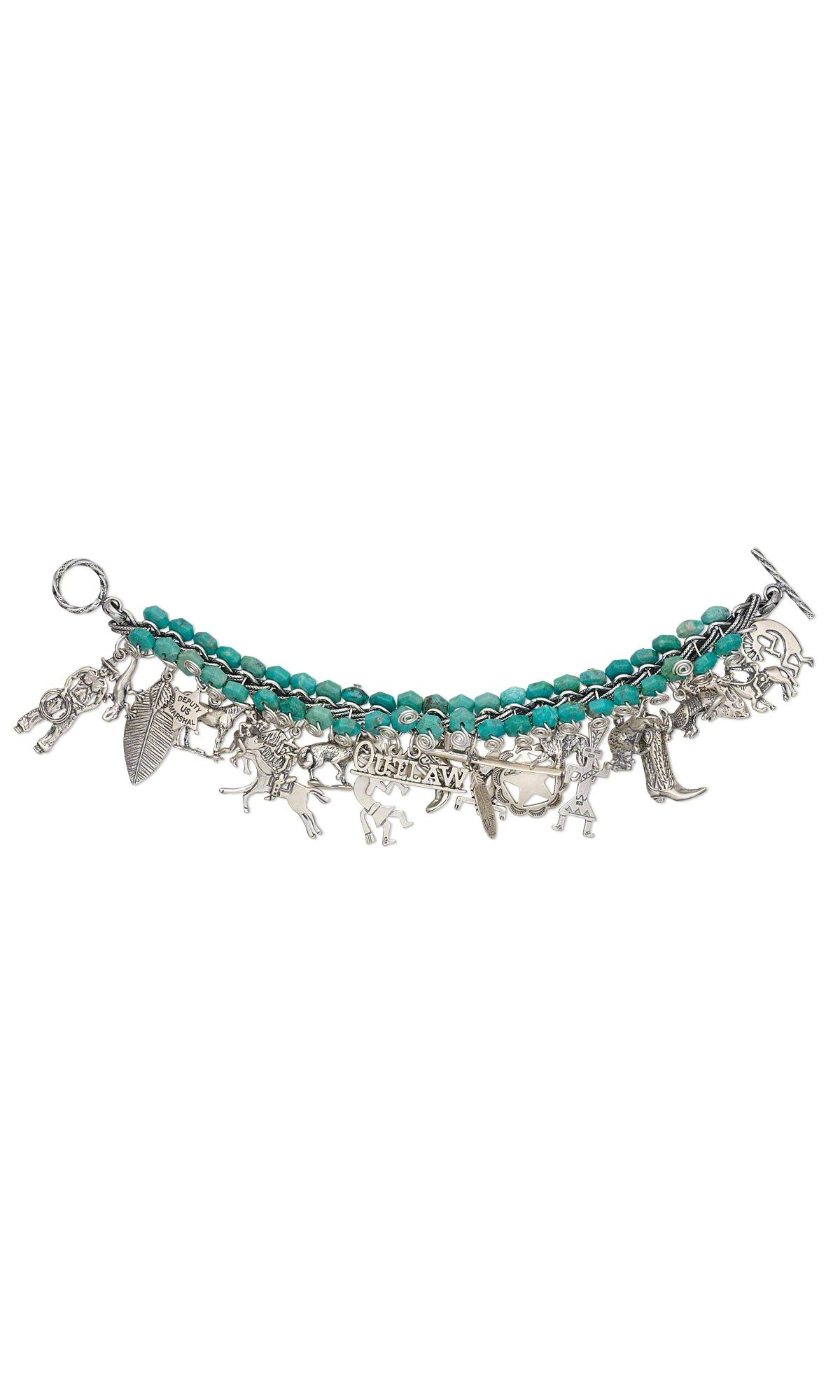 Jewelry design bracelet with sterling silver charms and turquoise