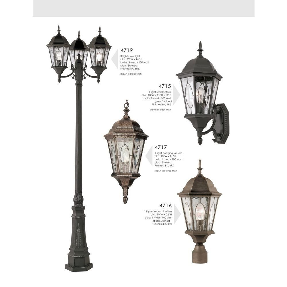 Bel Air Lighting Villa Nueva 3 Light Brown Outdoor Lamp Post Light Set With Stained Glass 4719 Brz The Home Depot Outdoor Lamp Post Lights Bel Air Lighting Lamp Post Lights