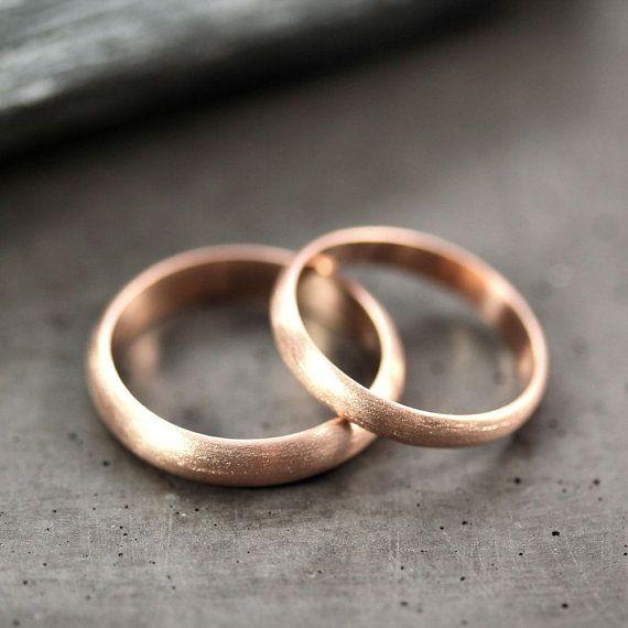 Rose Gold Wedding Band Set Brushed Men S And Women S Etsy Rose Gold Wedding Ring Sets Wedding Rings Rose Gold Rose Gold Wedding Bands