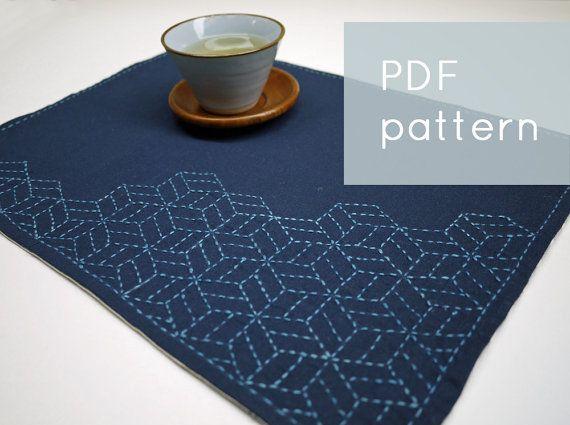 PDF sashiko pattern   stacking cubes   modern embroidery by SakePuppets, $4.00