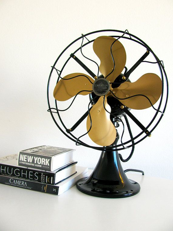 Antique Desk Fan, Vintage 1936 Emerson Metal Fan, Industrial - Antique Desk Fan, Vintage 1936 Emerson Metal Fan, Industrial Rob