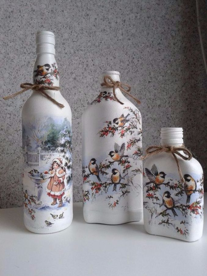 How to decorate Glass bottles with Decoupage -DIY Recycle with Art #decopodge