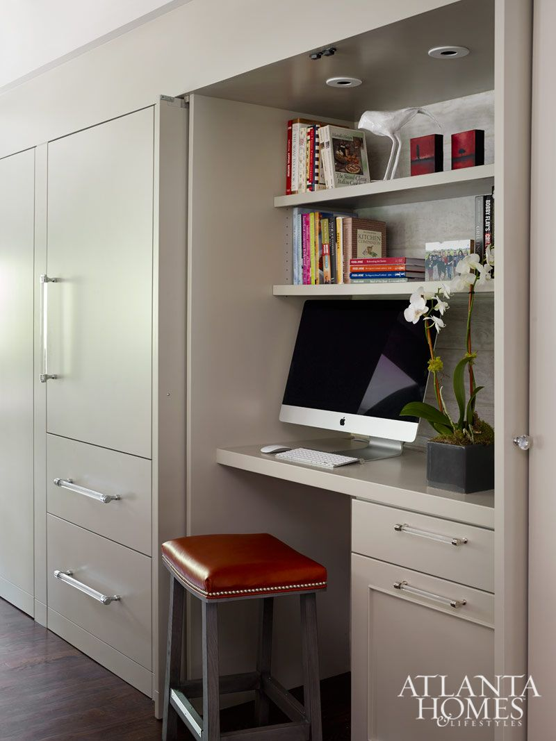 Usually I Am Against An Office Station In The Kitchen Because It Just Looks Messy And Awkward But Kitchen Office Spaces Home Office Design Desk In Living Room