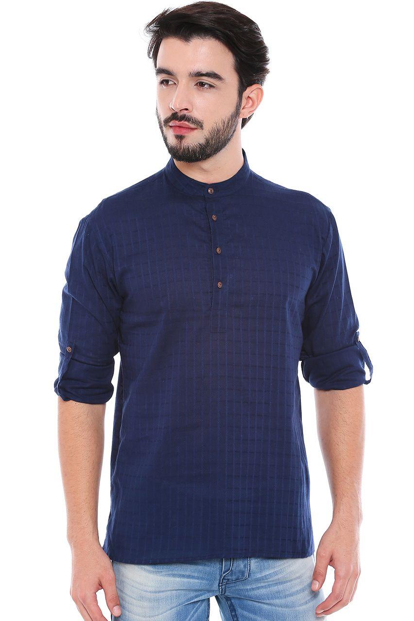 b1ee6eeeb04 In-Sattva - In-Sattva Men's Mandarin Collar Henley Style Short Fitted Kurta  Tunic