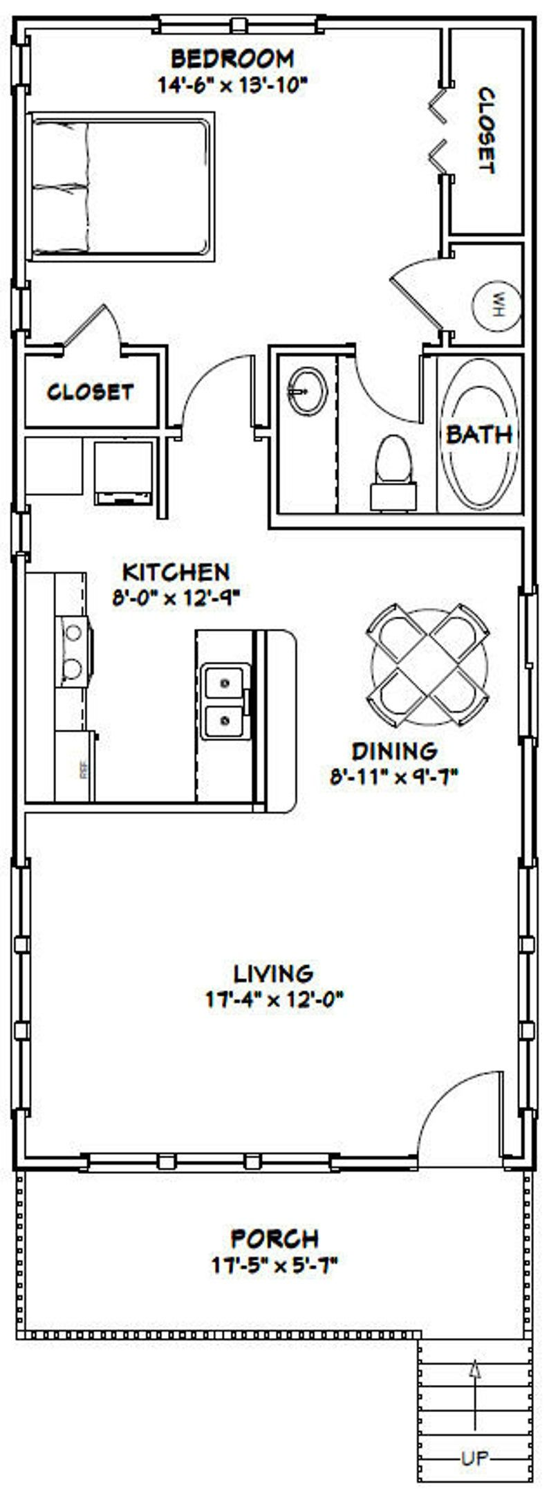 18x40 House 1 Bedroom 1 Bath 720 sq ft PDF Floor Plan Instant Download Model 5I