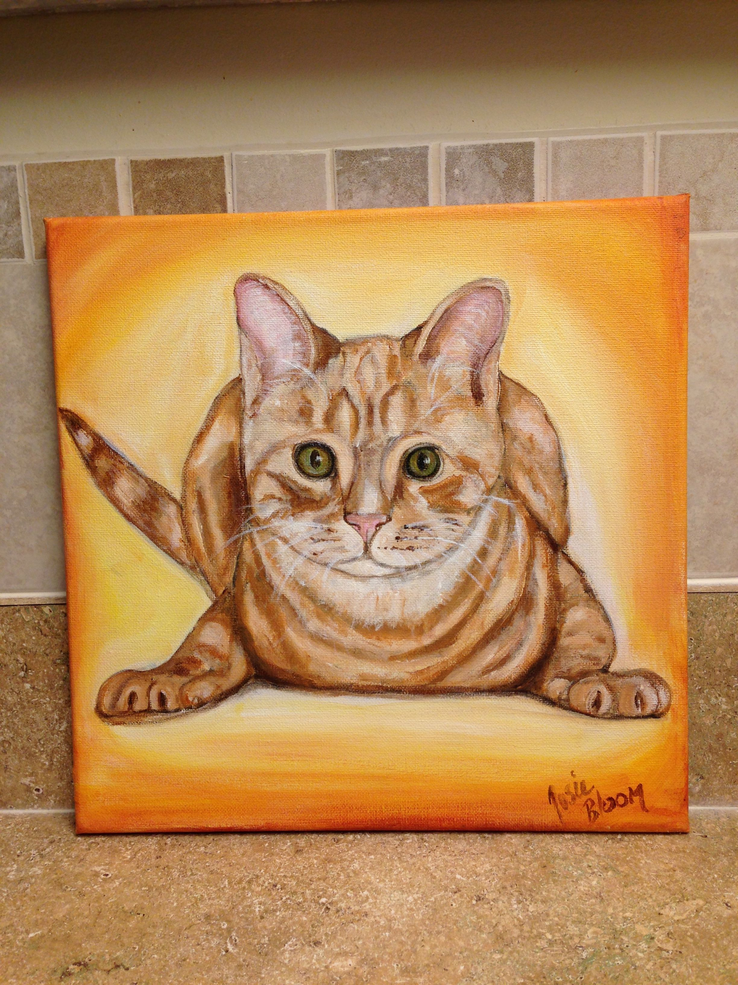 """12""""x12"""" Hand painted Red Tabby Kitty ready to purchase from my Esty shophttps://www.etsy.com/shop/JosieBloomArt"""