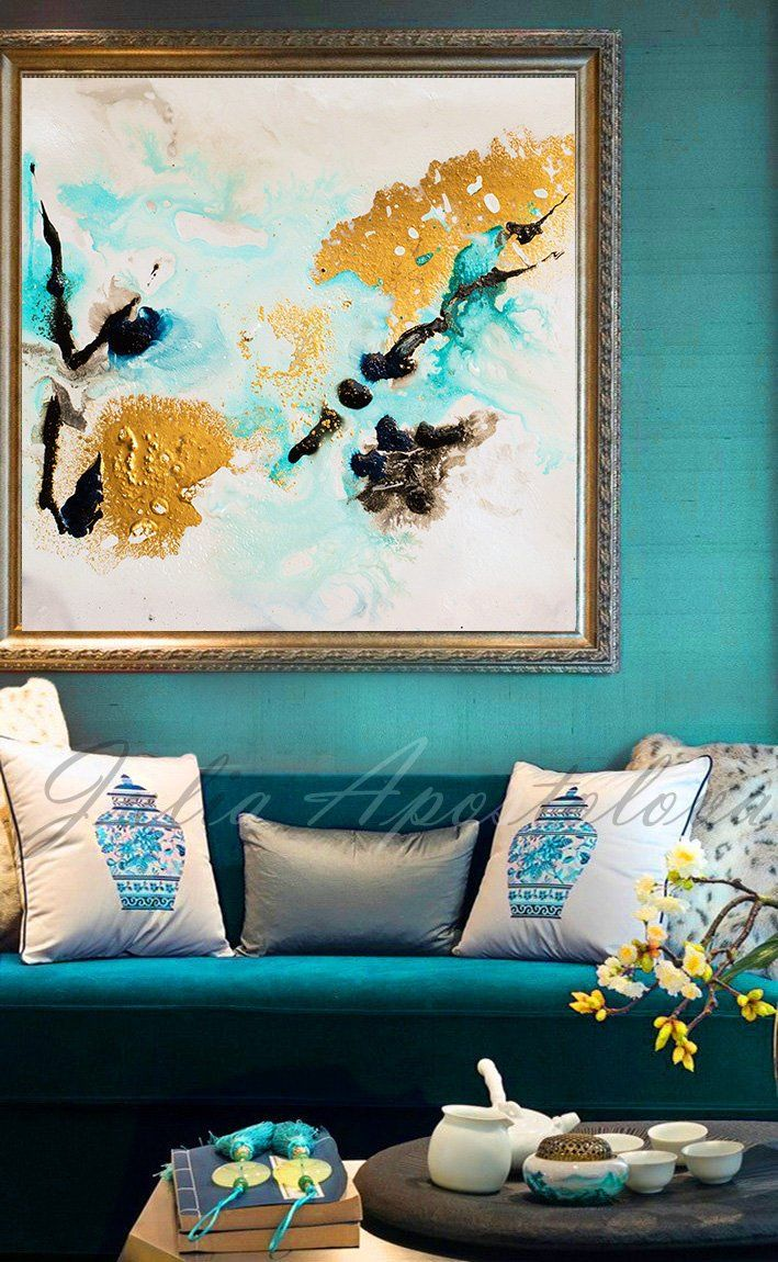 Gold leaf painting black white gold art abstract print large wall