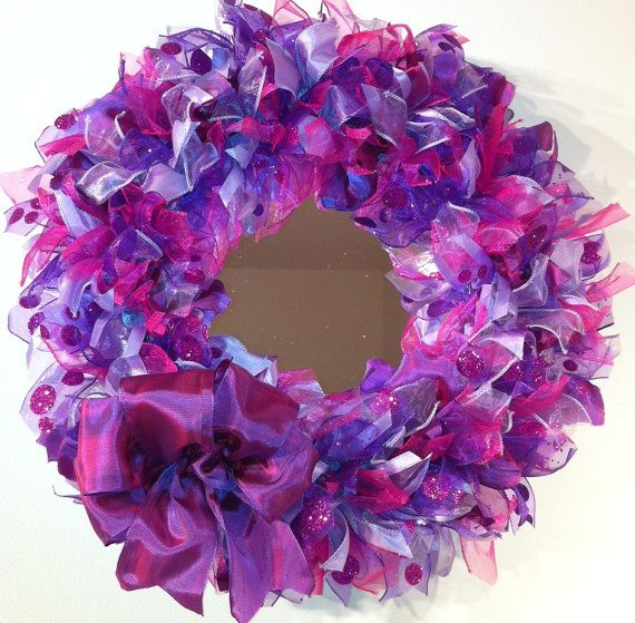 Mirror framed with a pink and purple ribbon wreath by sandra0117, $55.00