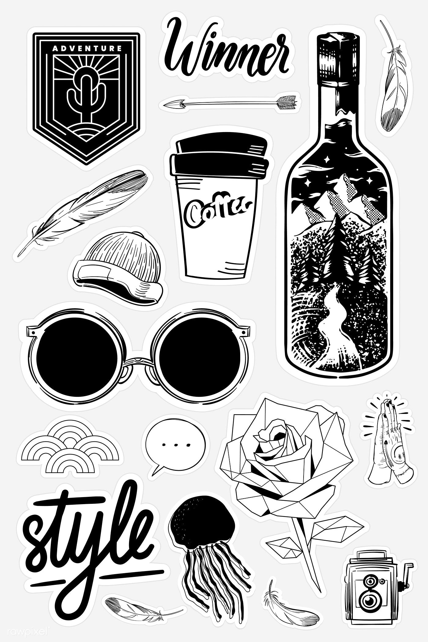 Download Premium Vector Of Set Of Black And White Sticker Doodle Vector In 2020 Black And White Stickers Black Stickers Aesthetic Stickers