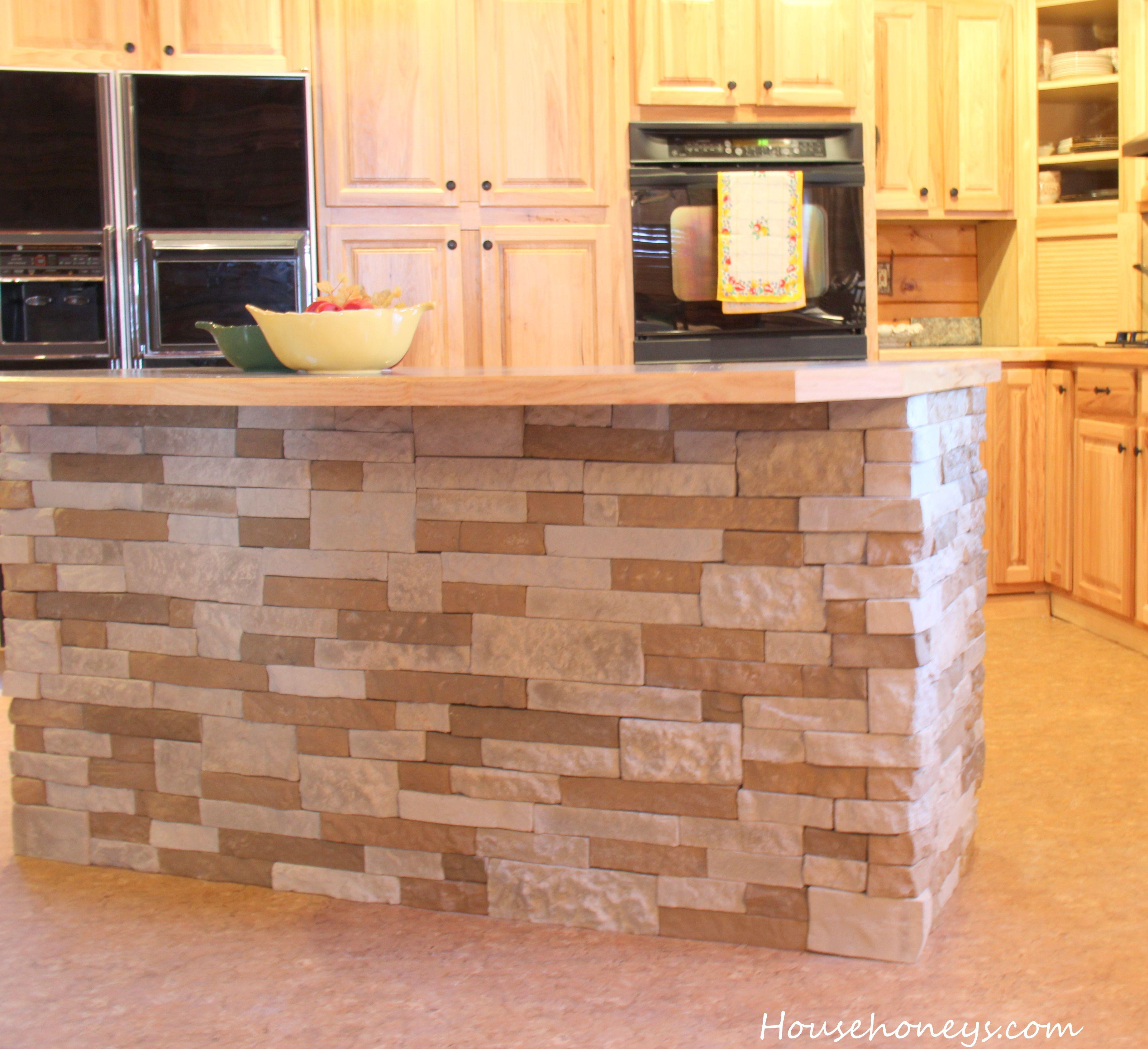 Kitchen Island Using Airstone Kitchen Backsplash Lowes
