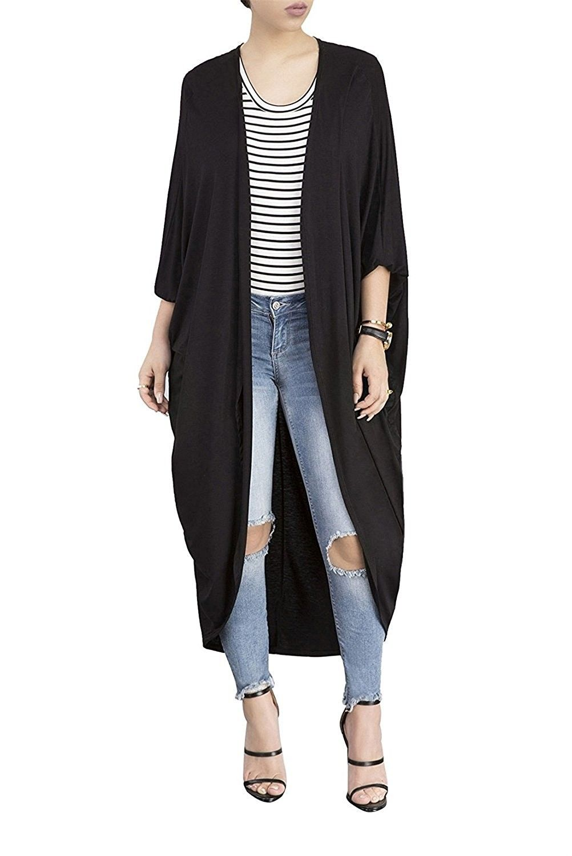 Summer Womens Long Sleeve Open Front Draped Jacket Long Vintage Tops Cardigan