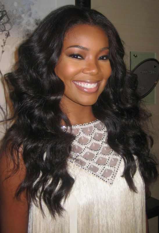 Gabrielle Union Long Wavy Style Created With Hair Extensions In A