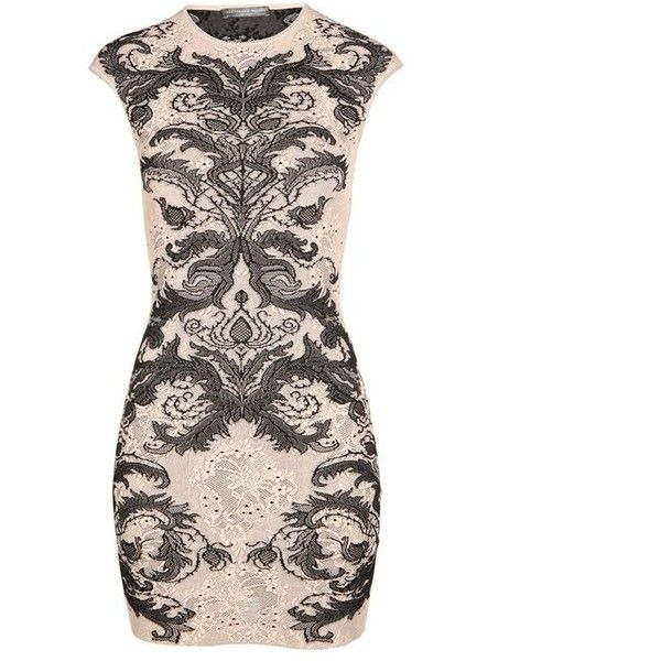 Alexander Mcqueen Lace Bodycon Dress (660 CAD) ❤ liked on Polyvore featuring dresses, bodycon dress, lace body con dress, lace print dress, body conscious dress and white cap sleeve dress