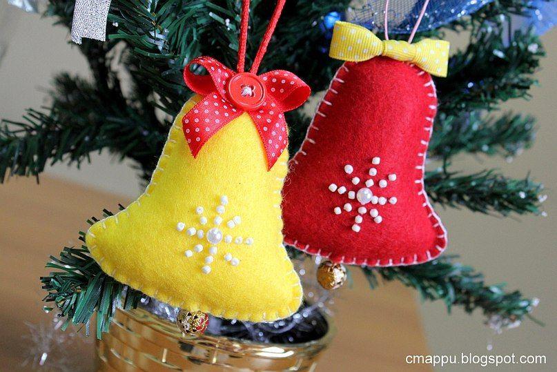 колокольчики из фетра Navidad Pinterest Felting, Felt