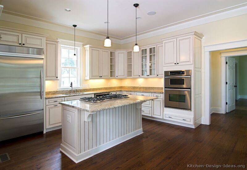 Cream Cabinets Dark Wood Floors