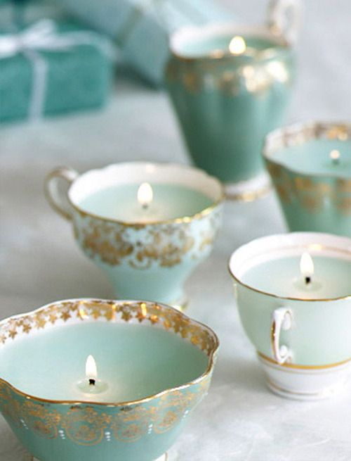 "soft aqua...the color of tranquility. Comb the thrift shops for lovely mis-matched china cups and DIY a sweet one of a kind candle. Use for decor, or as inexpensive ""thank you"" gifts for all your wedding helpers."