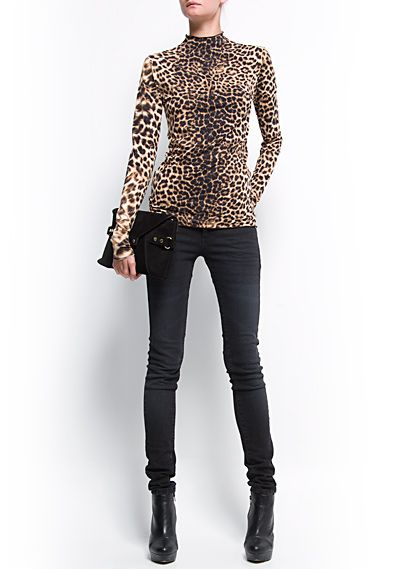 8e98fd54d94a4f MANGO - CLOTHING - New Collection Ceremony - Turtleneck animal print t-shirt