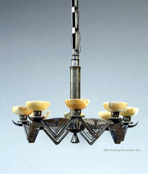 Art deco wrought iron and alabaster chandelier by edgar brandt art deco wrought iron and alabaster chandelier by edgar brandt france circa 1930 aloadofball Images