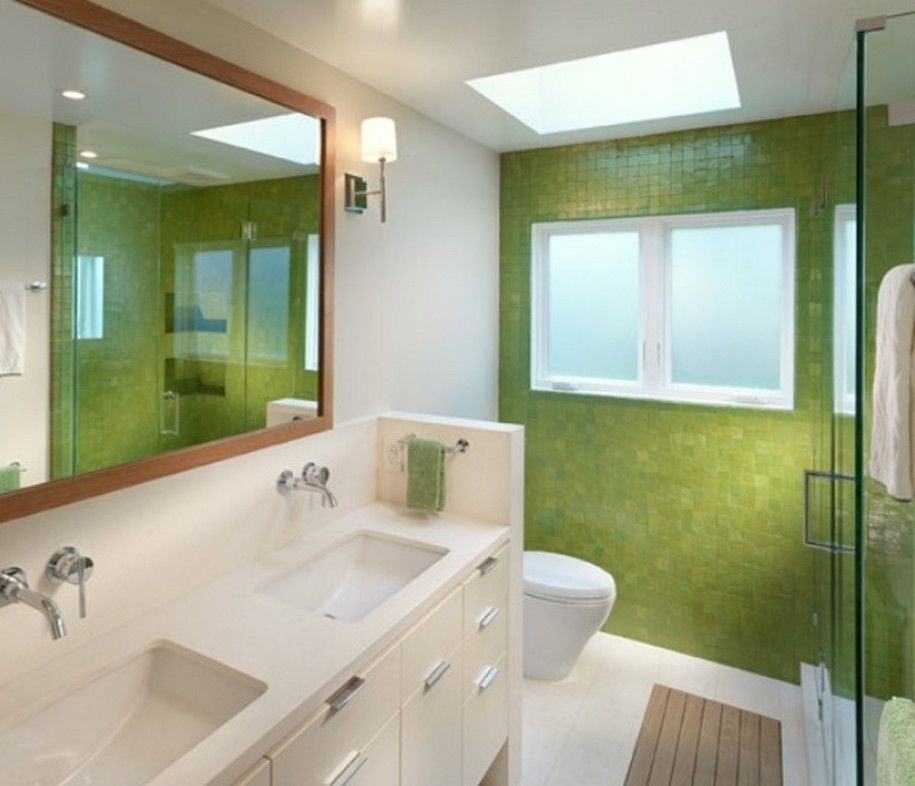 Minimalist Bathroom Design With Vanity Big Mirror And Green Wall Tiles Green Bathroom Minimalist Bathroom Design Modern Bathroom Design