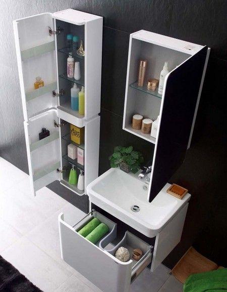 Meuble salle de bain simple vasque blanc laqué brillant, 60 cm, CAL