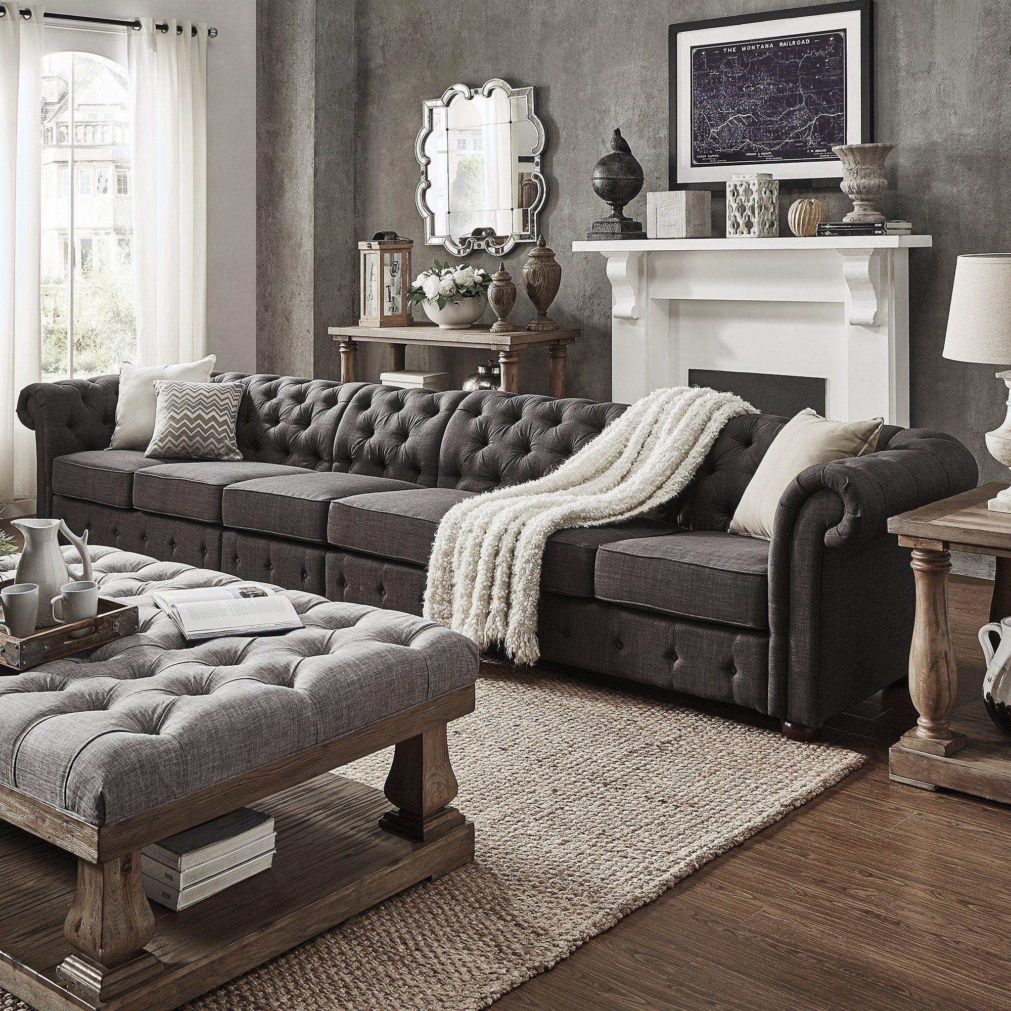 Knightsbridge Dark Grey Oversize 4 Seater Extra Long Tufted Chesterfield  Modular Sofa by iNSPIRE Q Artisan