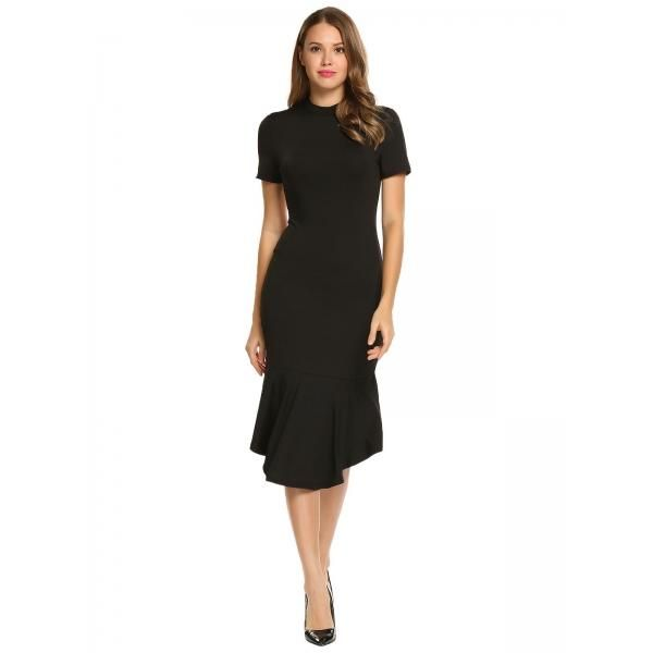 Dresslink - Dresslink Black Stand Neck Solid Backless Bow Tie Dress - AdoreWe.com