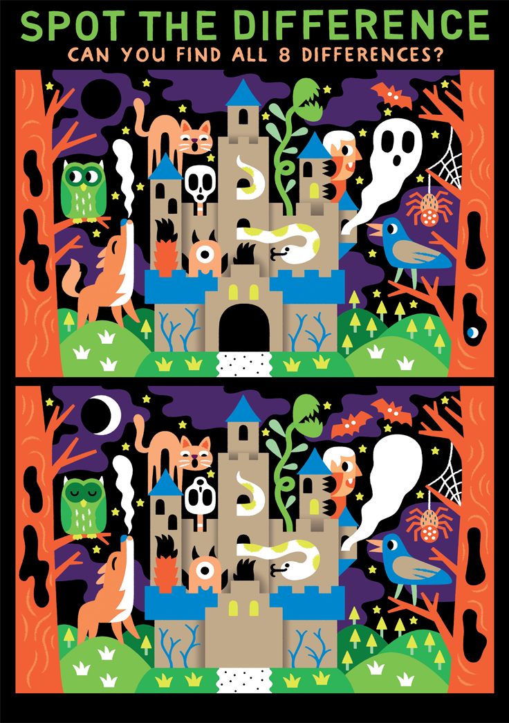 Download this ace Halloween spot the difference game to play with your kids!