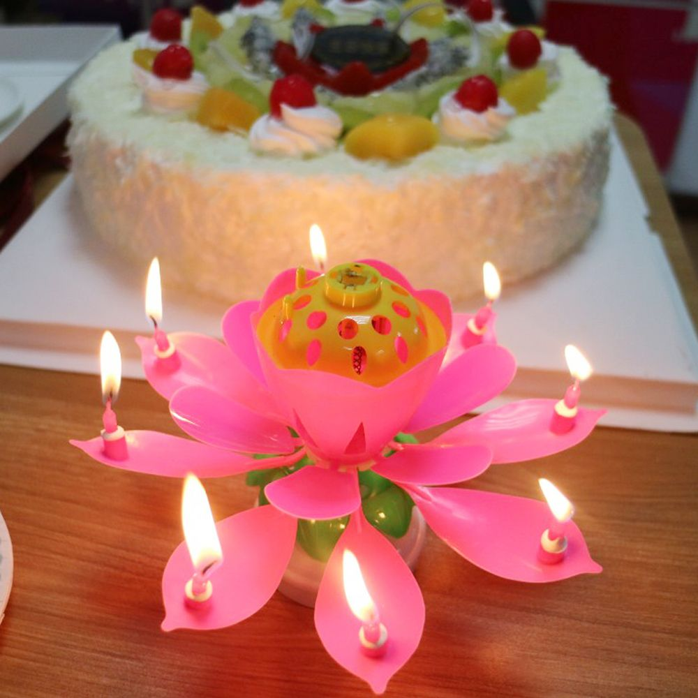 Home Decor Music Lotus Flower Birthday Candle Musical Happy Birthday
