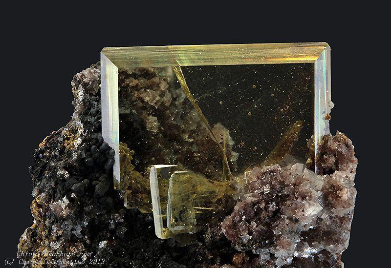 Wulfenite  Tsumeb Mine (Tsumcorp Mine), Tsumeb, Otjikoto Region (Oshikoto), Namibia   6.84 mm transparent Wulfenite crystal. Ex J&S Mommers Collection. Collection & Photo Matteo Chinellato