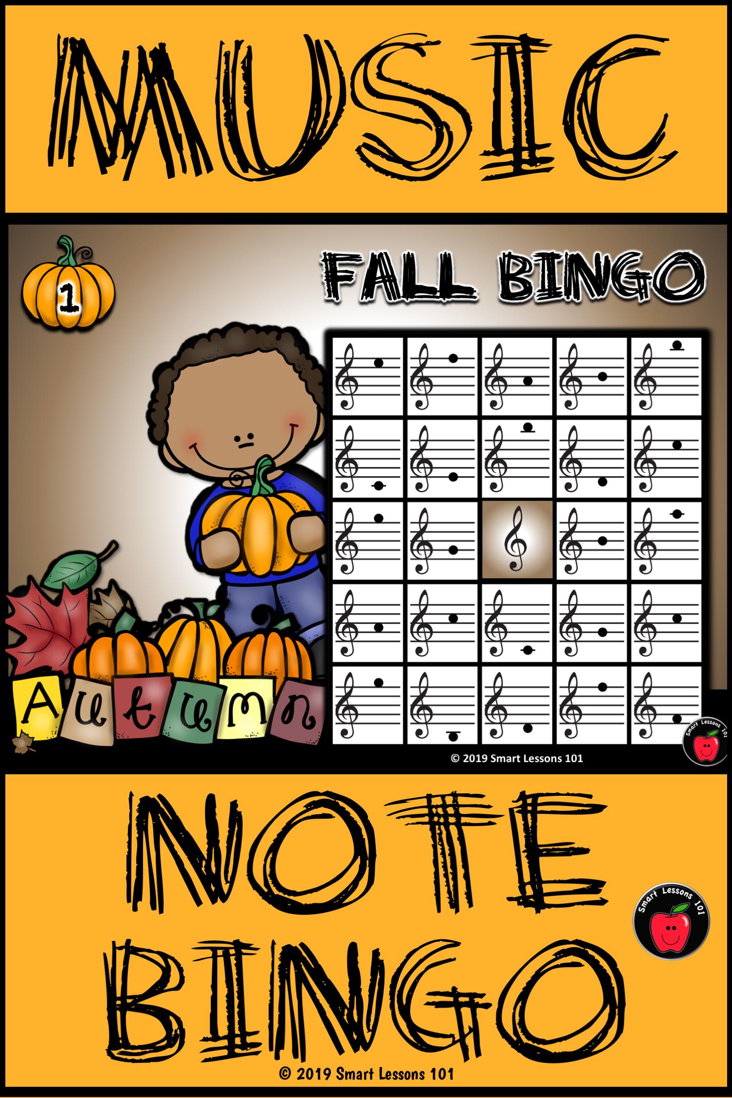 Fall Treble Clef Bingo Game Fall Note Name Bingo Fall
