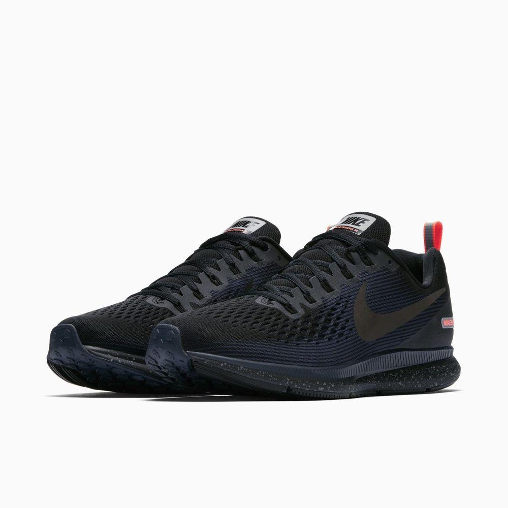 Nike Air Zoom Pegasus 34 Shield Mens Running Shoes Black Obsidian Nike Runningshoes Running Shoes For Men Nike Black Running Shoes